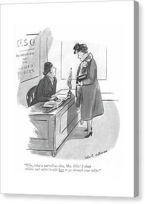 Marine Canvas Print - Why, What A Marvellous Idea, Mrs. Ellis! I Think by Helen E. Hokinson
