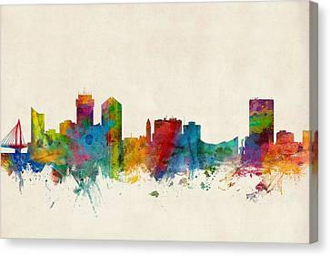 Wichita Kansas Skyline Canvas Print by Michael Tompsett