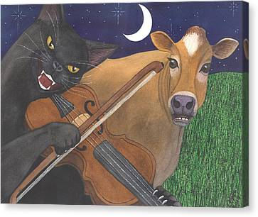 Wicked Kittys Got The Fiddle Canvas Print by Catherine G McElroy