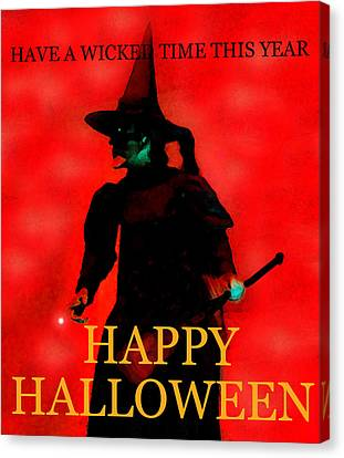 Wicked Time Halloween Card Canvas Print by David Lee Thompson