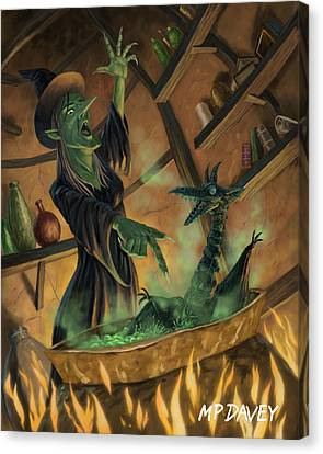 Wicked Witch Casting Spell Canvas Print by Martin Davey