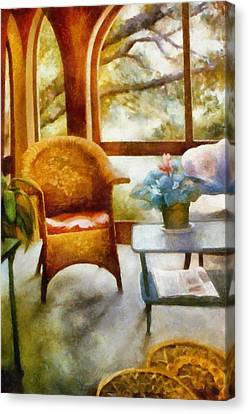 Wicker Chair And Cyclamen Canvas Print by Michelle Calkins