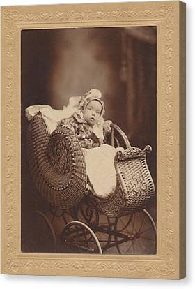 Canvas Print featuring the photograph Wicker Pram by Paul Ashby Antique Image
