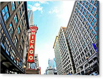 Wide Angle Photo Of The Chicago Theatre Marquee And Buildings  Canvas Print by Linda Matlow
