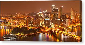 Wide Angle Pittsburgh Cityscape Canvas Print by Adam Jewell