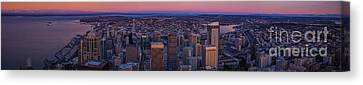 Washington Canvas Print - Wide Seattle Sunrise Cityscape by Mike Reid