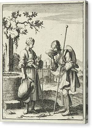 Wife Gives A Pilgrim Water From A Jug, Jan Luyken Canvas Print