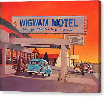 Canvas Print featuring the painting Wigwam Motel by Art James West