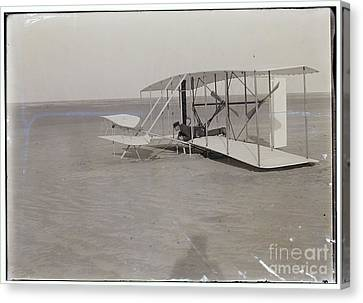 The Wright Brothers Wilbur In Prone Position In Damaged Machine Canvas Print