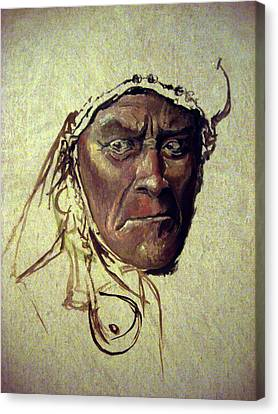 Native American Spirit Portrait Canvas Print - Wild And Glorious by Mikhail Savchenko