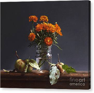 Wild Apples And Marigolds Canvas Print by Larry Preston