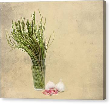 Wild Asparagus And Garlic Canvas Print by Angela Bruno