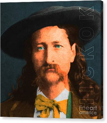 Wild Bill Hickok 20130518 Square With Text Canvas Print by Wingsdomain Art and Photography