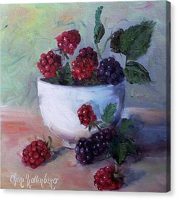 Canvas Print featuring the painting Wild Blackberries by Cheri Wollenberg