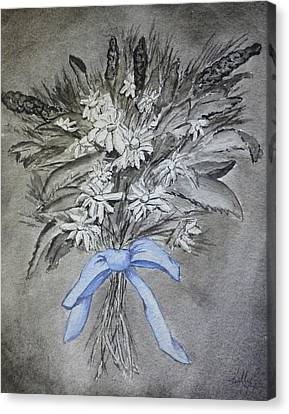 Canvas Print featuring the painting Wild Blue Flowers by Kelly Mills
