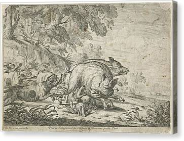 Wild Boar Hunt, Gillis Peeters I, Frans Snijders Canvas Print