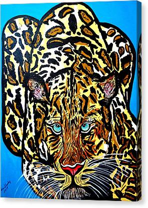 Canvas Print featuring the painting Wild Cat by Nora Shepley