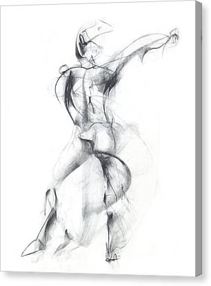 Black And White Human Figure Drawing Canvas Print - Wild Dancer by Christopher Williams