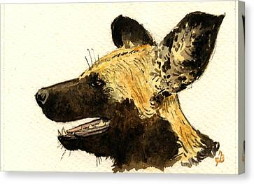 Wild Dog Lycaon Canvas Print by Juan  Bosco