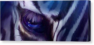 Wild Eyes - Zebra Blue Canvas Print
