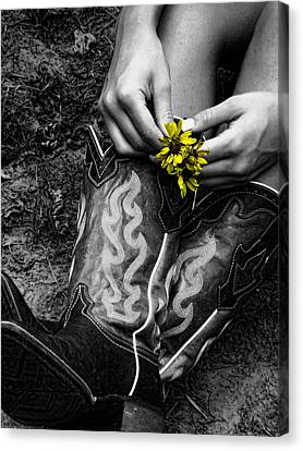 Wild Flower Boots Canvas Print