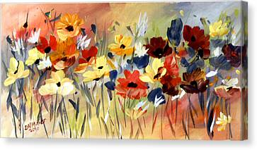 Canvas Print featuring the painting Wild Flowers by Dorothy Maier