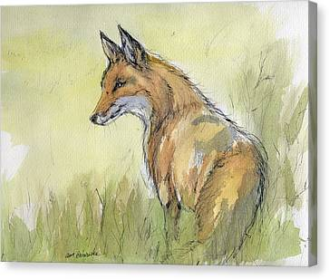 Wild Fox Watercolor Painting Canvas Print by Angel  Tarantella