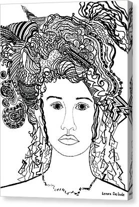 Canvas Print featuring the drawing Wild Hair Portrait In Shapes And Lines by Lenora  De Lude