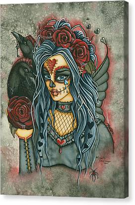 Skull In Rose Canvas Print - Wild Heart by Charity Dauenhauer
