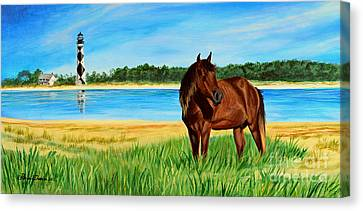 Wild Horse Near Cape Lookout Lighthouse Canvas Print by Patricia L Davidson