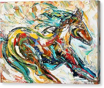 Impasto Horses Canvas Print - Wild Horse Run by Karen Tarlton