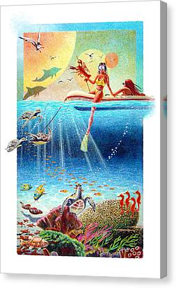 Canvas Print featuring the painting Wild Horses by David  Chapple