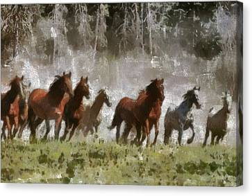 Canvas Print featuring the painting Wild Horses by Georgi Dimitrov