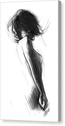 Nude Woman Charcoal Drawing Canvas Print - Wild Like The Wind by Steve K