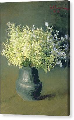 Wild Lilacs And Forget Me Nots Canvas Print by Isaak Ilyich Levitan