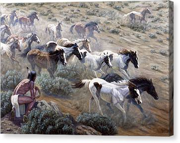Observer Canvas Print - Wild Mustangs by Gregory Perillo