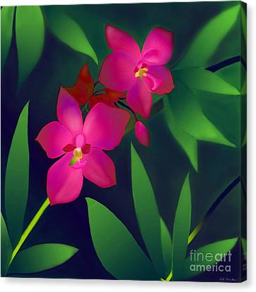 Canvas Print featuring the digital art Wild Orchids by Latha Gokuldas Panicker