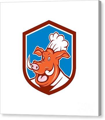 Wild Pig Boar Chef Cook Head Shield Cartoon Canvas Print by Aloysius Patrimonio