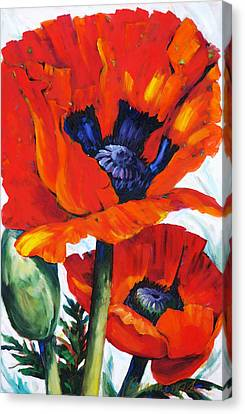 Wild Poppies - Floral Art By Betty Cummings Canvas Print by Sharon Cummings