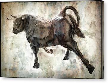 Wild Raging Bull Canvas Print by Daniel Hagerman