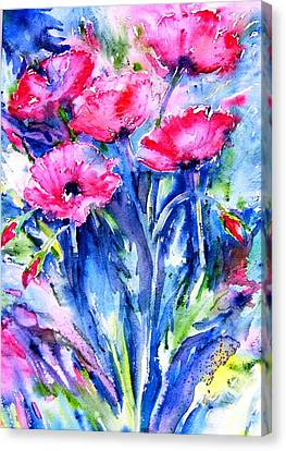 Canvas Print featuring the painting Wild Scarlet Poppies  by Trudi Doyle