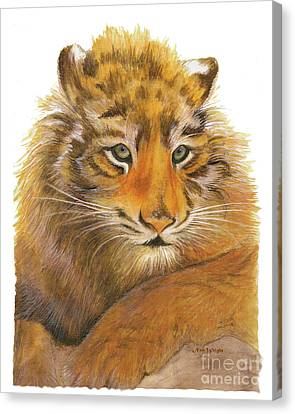 Canvas Print featuring the painting Wild Tiger Cub by Nan Wright