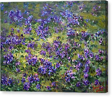 Fields Of Flowers Canvas Print - Wild Violets  by Ylli Haruni