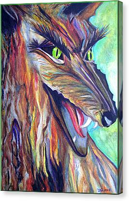 Canvas Print featuring the drawing Wild Wolf by Daniel Janda