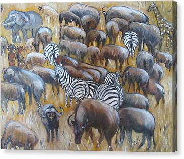 Wildebeest Migration In Kenya Canvas Print