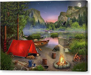 Camping Canvas Print - Wilderness Trip by David M