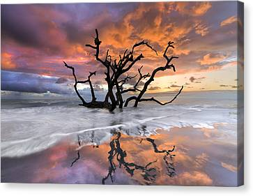Tropical Sunset Canvas Print - Wildfire by Debra and Dave Vanderlaan