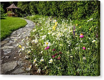 Wildflower Garden And Path To Gazebo Canvas Print by Elena Elisseeva