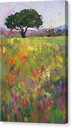 Canvas Print featuring the painting Wildflower Hill by Erin Hanson