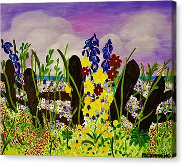 Canvas Print featuring the painting Wildflowers By The Sea by Celeste Manning
